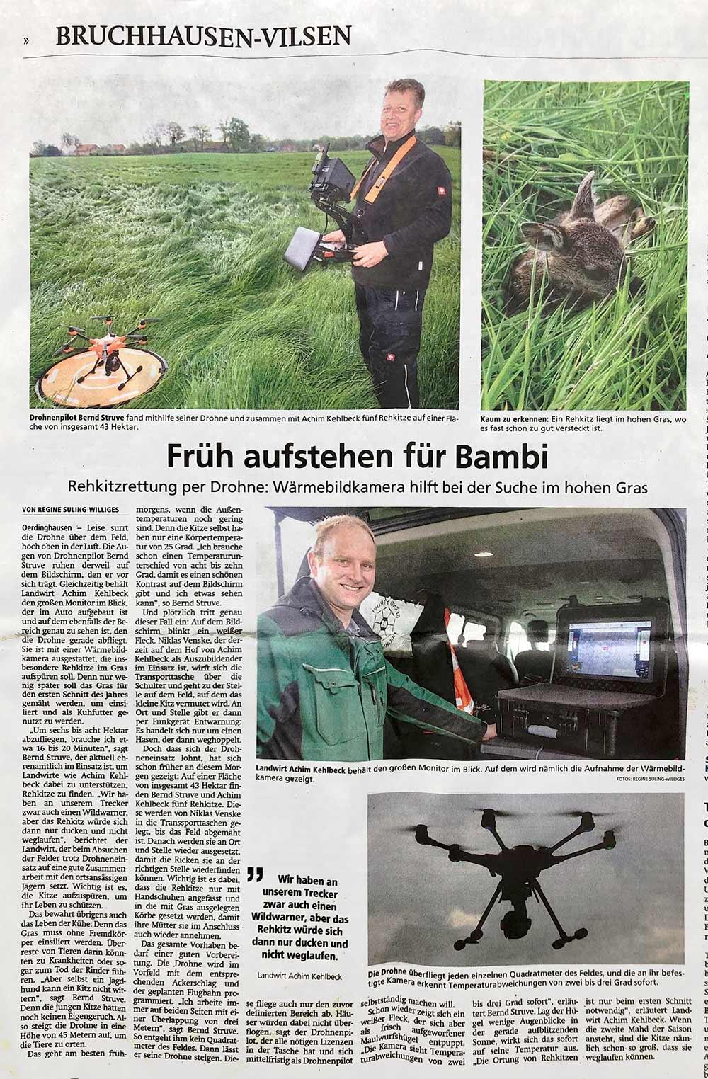 Bernd Struve Drohnenpilot rettet 5 Rehkitze